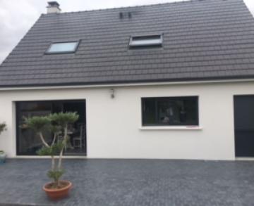 Terrasse  réalisée en pavés résine Marshalls  Vulcan Belgium Blue